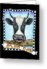 Moo Cow In Black Greeting Card