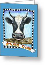 Moo Cow In Blue Greeting Card