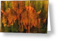 Moods Of Africa - Rhinos Greeting Card