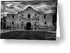 Moody Morning At The Alamo Bw Greeting Card