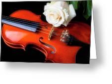 Moody Violin And Rose  Greeting Card