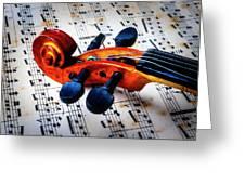 Moody Violin Scroll On Sheet Music Greeting Card
