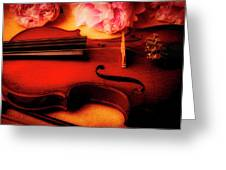 Moody Violin With Peonies Greeting Card