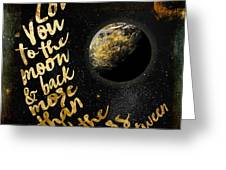 Moon And Back Stars Night Greeting Card