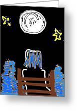 Moon And Beach Watcher On Martha's Vineyard Greeting Card