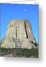 Moon And Devil's Tower National Monument, Wyoming Greeting Card