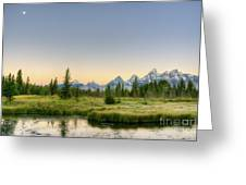 Moon And Mountains Greeting Card