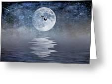 Moon And Sea Greeting Card