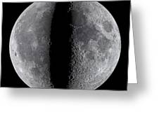 Moon Composite, First And Last Quarter Greeting Card