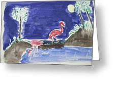 Moon Evening.flamingo. Water Color 1995 Greeting Card