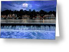 Moon Light - Boathouse Row Philadelphia Greeting Card