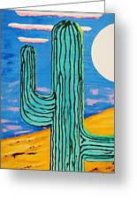 Moon Light Cactus L Greeting Card