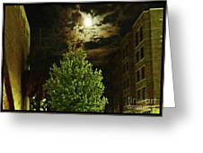 Moon On Fire Over Downtown Savannah Greeting Card