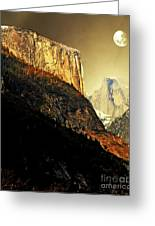 Moon Over Half Dome . Portrait Cut Greeting Card