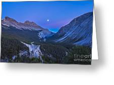 Moon Over Icefields Parkway In Alberta Greeting Card