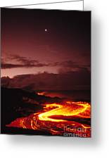 Moon Over Lava At Dawn Greeting Card
