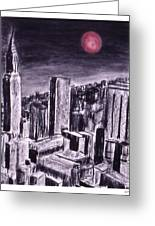 Moon Over Manhattan Greeting Card
