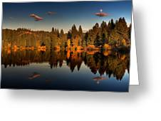 Moon Over Mill Pond Greeting Card