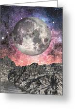 Moon Over Mountain Lake Greeting Card