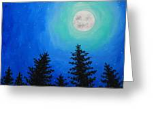 Moon Over Pines Greeting Card