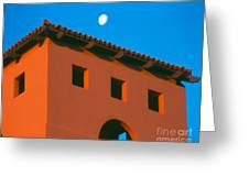 Moon Over Red Adobe Horizontal Greeting Card