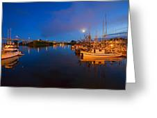Moon Over Sitka Marina Greeting Card by Mike  Dawson