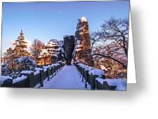 Moon Over Snowy Bastei Bridge Greeting Card