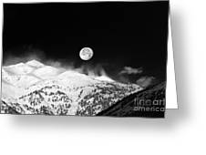 Moon Over The Alps Greeting Card