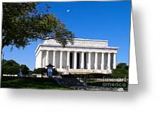 Moon Over The Lincoln Memorial  Greeting Card