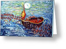 Moon Over The Ocean Greeting Card