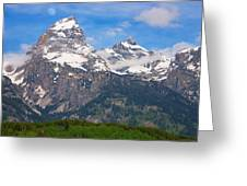 Moon Over The Tetons Greeting Card