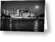 Moon Over Udaipur Bw Greeting Card