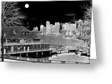 Moon Over Vancouver Greeting Card
