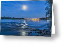 Moon Over Vistula River In Warsaw Greeting Card