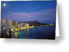 Moon Over Waikiki Greeting Card by William Waterfall - Printscapes