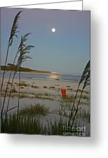 Moon Over Waties Island Greeting Card