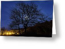 Moon Rise Behind Tree Silhouette At Night Greeting Card