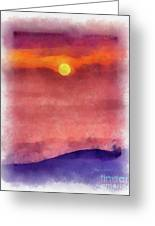 Moon Rise In Aquarelle Greeting Card