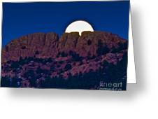Moon Setting Behind Horsetooth Rock Greeting Card by Harry Strharsky