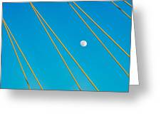 Moon Through The Wires Greeting Card