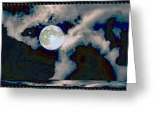 Moon Walk By The Clouds Greeting Card