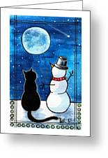 Moon Watching With Snowman - Christmas Cat Greeting Card