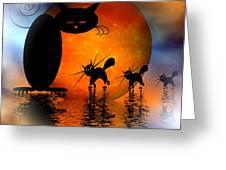 Mooncat's Catwalk Greeting Card by Issabild -