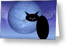 Mooncat's Loneliness Greeting Card by Issabild -
