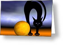 Mooncat's Play With The Fullmoon Greeting Card by Issabild -