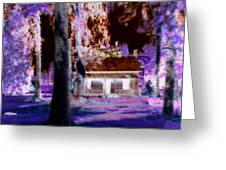 Moonlight Cabin Greeting Card