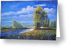 Moonlight On Clear Creek Greeting Card