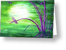 Moonlight On Green Water Greeting Card