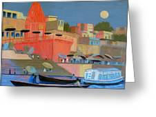 Moonlight On The Ghats Greeting Card