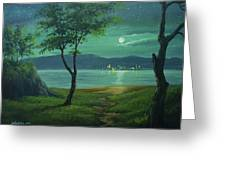Moonlight Over The Sea Greeting Card